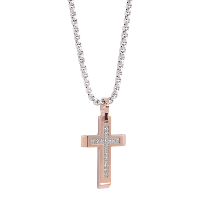 ROSE-IP WHITE CUBIC ZIRCONIA BRUSHED CROSS PENDANT