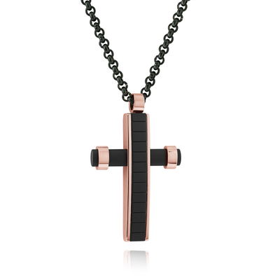 BLACK-ROSEGOLD-IP CROSS NECKLACE