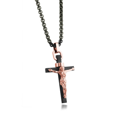 "ITALGEM STEEL BLACK-RO-IP S.STEEL JESUS-CROSS BLACK-22"" R-BOX-CHAIN"
