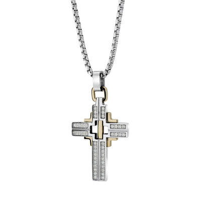 "ITALGEM STEEL YELLOW-IP S.STEEL WHITE-CZ CROSS-22"" ROUND-BOX-CHAIN"