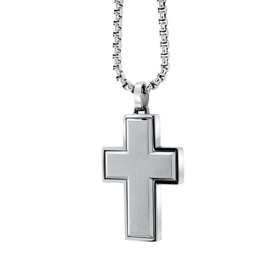 "ITALGEM STEEL S.STEEL BRUSHED CROSS 22""-ROUND BOX-CHAIN"