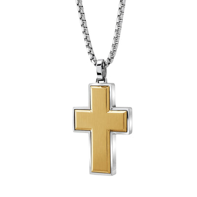 "ITALGEM STEEL  YELLOW-IP S.STEEL-BRUSHED CROSS 22""-ROUND BOX-CHAIN                              Brushed Cross 22'' Round Box Chain"