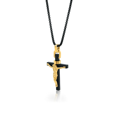 BLACK-YELLOW-IP JESUS CROSS NECKLACE