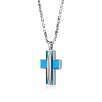 BLUE-IP MATTE CROSS NECKLACE