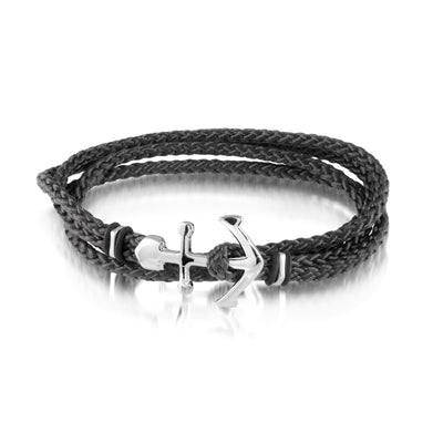 ITGALGEM STEEL STAINLESS STEEL ANCHOR CLASP BLACK CORD BRACELET