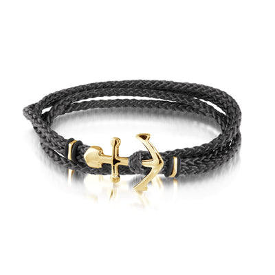 ITALGEM STEEL YELLOW IP STAINLESS STEEL ANCHOR CLASP BLACK CORD BRACELET