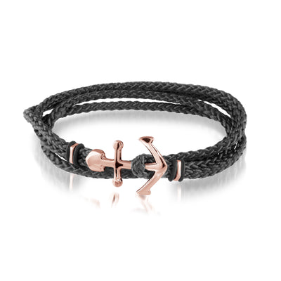 ROSE-IP ANCHOR-CLASP BLACK-CORD BRACELET