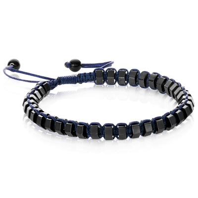 GUNMETAL BEADS NAVY ADJUSTABLE BRACELET