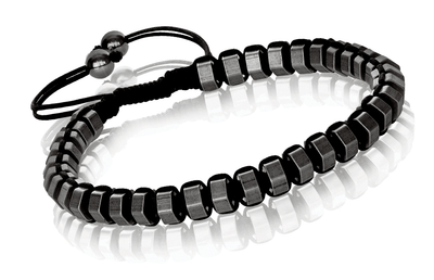 GUN-IP MATTE BEADS BLACK CORD BRACELET