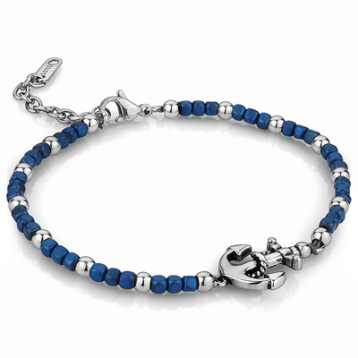 ANCHOR BLUE HEMATITE BEADS BRACELET