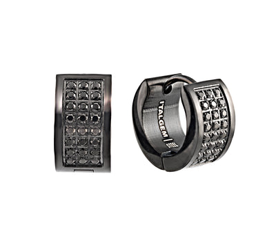 ITALGEM STEEL BLACK-IP S.STEEL BLACK-C.Z. MICRO-PAVE HUGGIES