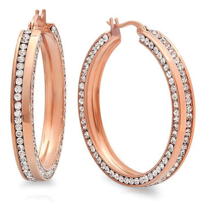 ITALGEM STEEL ROSE IP STAINLESS STEEL WHITE CZ BLING HOOP EARRING