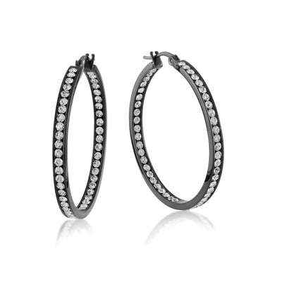 ITALGEM STEEL STAINLESS STEEL BLACK IP WHITE CZ INSIDE-OUT HOOP EARRINGS