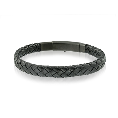 18K ACCENT BLACK LEATHER BRACELET