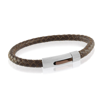 COFFEE-IP CHECKERED CLASP BROWN LEATHER BRACELET