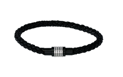 S.STEEL BLACK-BOLO LEATHER IP-CLASP BRACELET