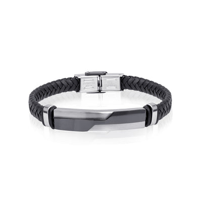 ID-PLATE BLACK LEATHER BRACELET