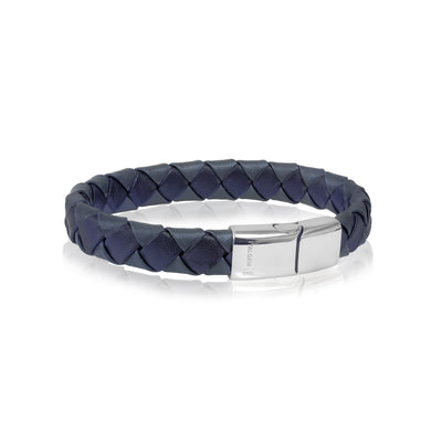 GREY-BLUE LEATHER BRACELET