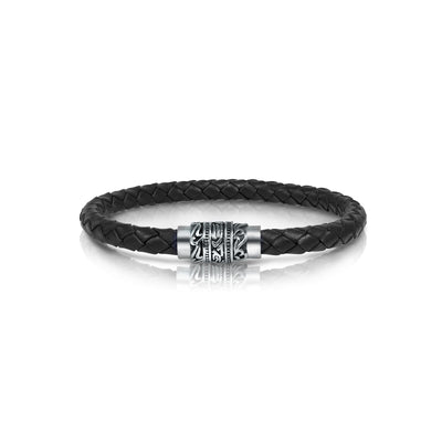 ENGRAVED CLASP-DESIGN BLACK-LEATHER BRACELET