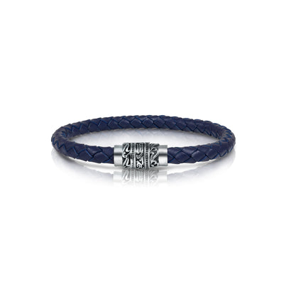 ENGRAVED CLASP BLUE LEATHER BRACELET