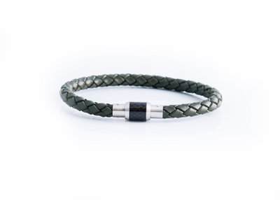 CARBON CLASP ARMY GREEN LEATHER BRACELET