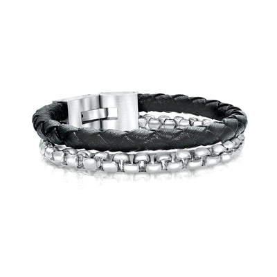 ROUND BOX BLACK LEATHER BRACELET