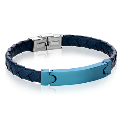 ITAGEM STEEL S.STEEL MATTE-BLUE-IP ID-PLATE BLUE-LEATHER BRACELET