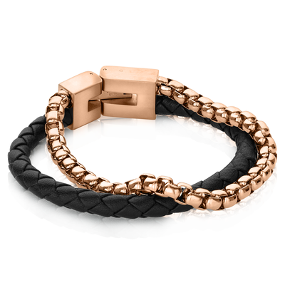 ROSEGOLD-IP ROUND BOX LINK BLACK LEATHER BRACELET