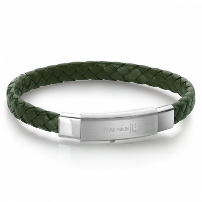 DARK GREEN LEATHER BRACELET