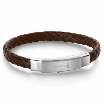 POLISHED 3-WAY CLASP BROWN LEATHER BRACELET