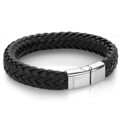 POLISHED 3-WAY CLASP BLACK LEATHER BRACELET