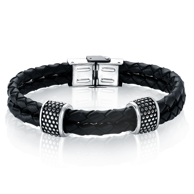 DOUBLE-ROW BLACK LEATHER ENGRAVED BEADS BRACELET