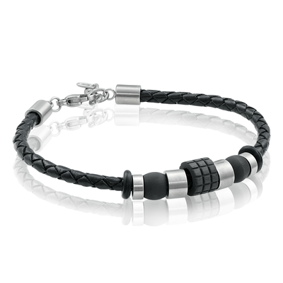 CARBON FIBER BEADS BLACK LEATHER BRACELET