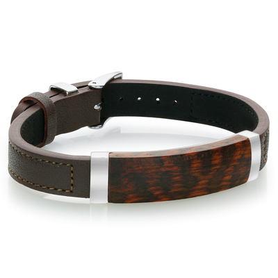 WOOD CENTER PLATE LEATHER BRACELET