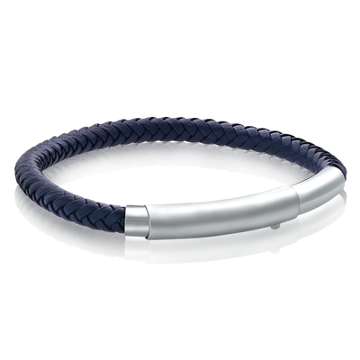 MATTE CLASP BLUE LEATHER BRACELET