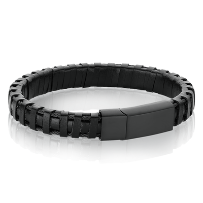 BLACK MATTE LEATHER BRACELET