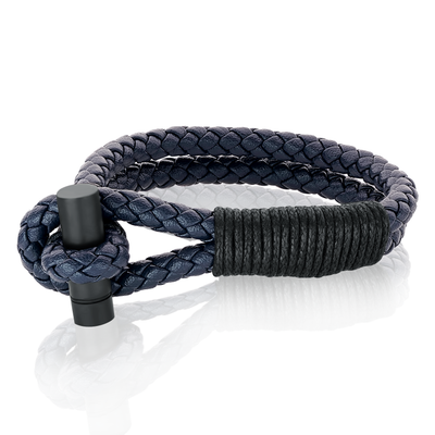 TWISTED CLASP BLUE LEATHER BRACELET