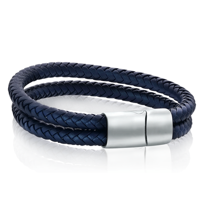DOUBLE ROW BLUE LEATHER BRACELET