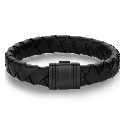 MATTE CLASP BLACK LEATHER BRACELET
