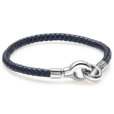 CUFF CLASP NAVY BLUE LEATHER BRACELET