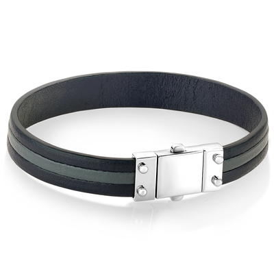 SQUARE CLASP BLUE-GREY LEATHER BRACELET