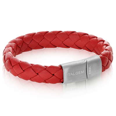 GUN-IP MATTE CLASP RED LEATHER BRACELET