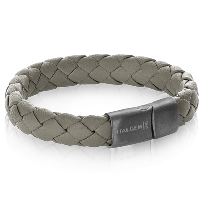 GUN-IP MATTE CLASP GREY LEATHER BRACELET