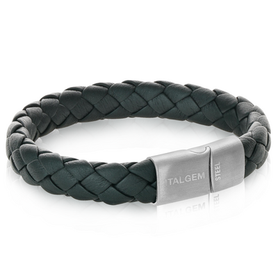 GUN-IP MATTE CLASP BLACK LEATHER BRACELET