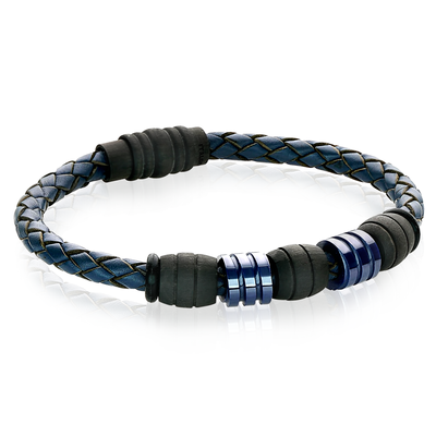 BLUE CERAMIC BEADS BLUE LEATHER BRACELET