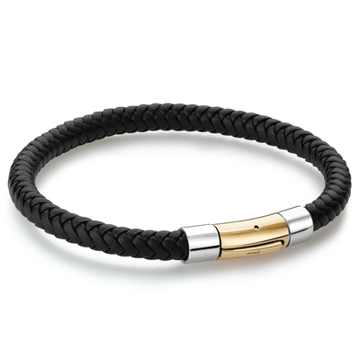 YELLOW-IP PUSH CLASP BLACK LEATHER BRACELET
