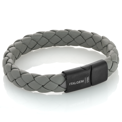 BLACK-IP MATTE CLASP GREY LEATHER BRACELET