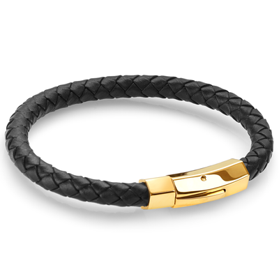GOLD CLASP BLACK LEATHER BRACELET