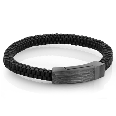 GUN-IP SQUARE CLASP BLACK LEATHER BRACELET