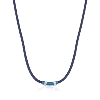 BLUE-IP BLUE LEATHER NECKLACE